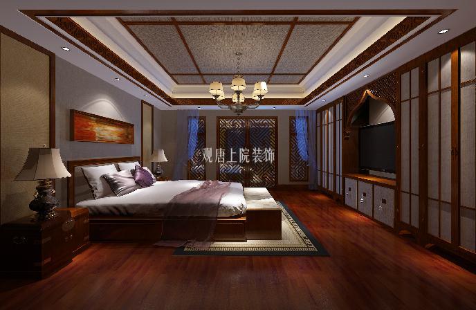 新中式别墅客厅木格